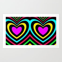Rainbow heart stripes abstract pattern lgbt awesome  Art Print
