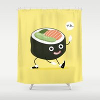 sushi Shower Curtains featuring SUSHI by Céline Dscps