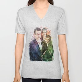 12th Doctor/Doctor Who/Peter Capaldi inspired Mixed Media Watercolor Portrait Unisex V-Neck