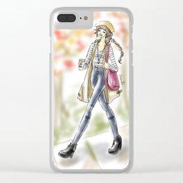 Fall Fashion Coffee Girl Clear iPhone Case