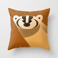 badger Throw Pillows featuring badger by Thomas