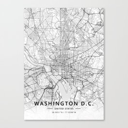 Washington D.C., United States - Light Map Canvas Print