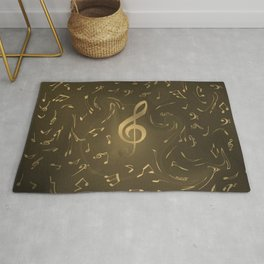 gold music notes swirl pattern Rug