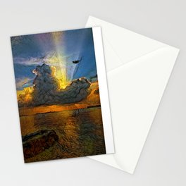 Sunset on island Stationery Cards