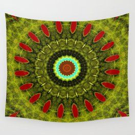 Lovely Healing Mandala  in Brilliant Colors: Olive, Green, Burnt Orange, Black, and Turquoise Wall Tapestry