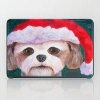 shih tzu iPad Cases featuring Christmas Shih Tzu By Annie Zeno by Annie Zeno