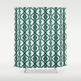 Watercolor Green Tile 1 Shower Curtain