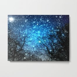 Black Trees Blue SPACE Metal Print