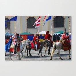 Medieval knights parade Canvas Print