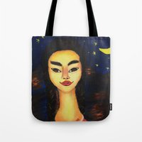 frida kahlo Tote Bags featuring Frida Kahlo by ArtSchool