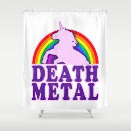 Funny Death Metal Unicorn Rainbow T-Shirt Shower Curtain