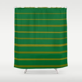 Emerald Green and Honey Gold Thin Stripes Shower Curtain