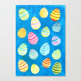Easter Egg Watercolor Pattern -  Blue Canvas Print