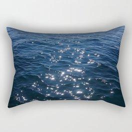 Sparkly Deep Blue Sea Waves Rectangular Pillow