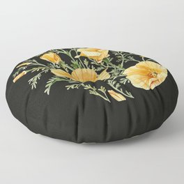 California Poppies on Charcoal Black Floor Pillow