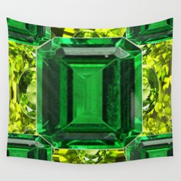EMERALDS &  LIME GREEN PERIDOT GEMS BIRTHSTONES Wall Tapestry