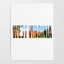 West Virginia Campus Lettering Print Poster