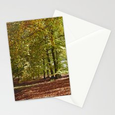 Autumnal beech trees in a natural woodland. Norfolk, UK. Stationery Cards