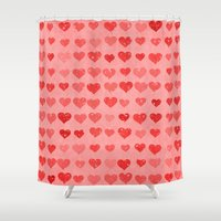 valentines Shower Curtains featuring Pink Valentines Love Hearts by Texture