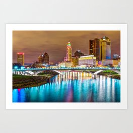 Buckeye Skyline - Columbus at Night on the Water Art Print