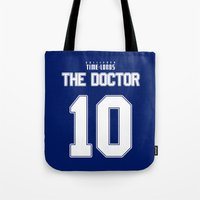david tennant Tote Bags featuring Team Tennant by trekvix