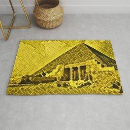 Egypt Pyramids Artistic Illustration Gold Floor Style Rug