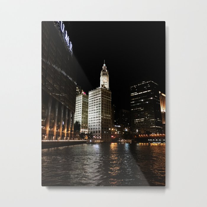Wrigley Building and Chicago River at Night Color Photo Metal Print
