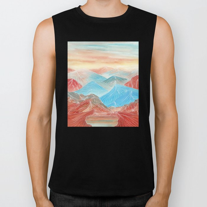 Lines in the mountains XX Biker Tank