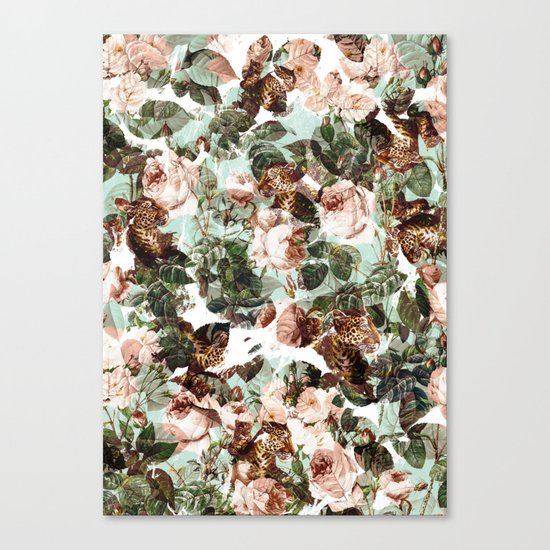 Floral and Leopard Pattern Canvas Print