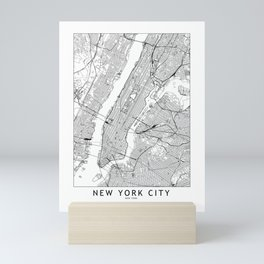 New York City White Map Mini Art Print