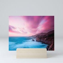Beautiful Pink Sunset Blue Ocean Mini Art Print