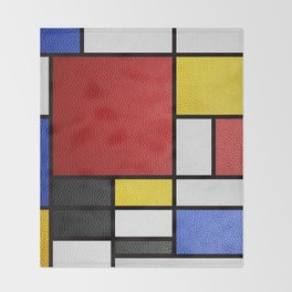 Mondrian in a Leather-Style Throw Blanket