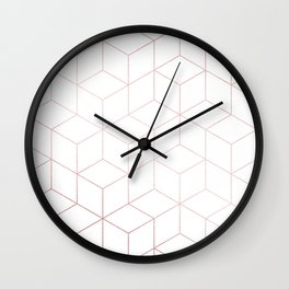 Simply Cubic in Rose Gold Sunset Wall Clock