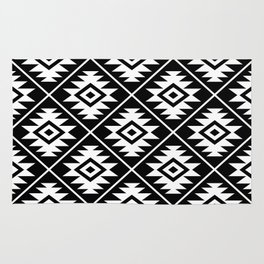 Aztec Symbol Pattern White on Black Rug