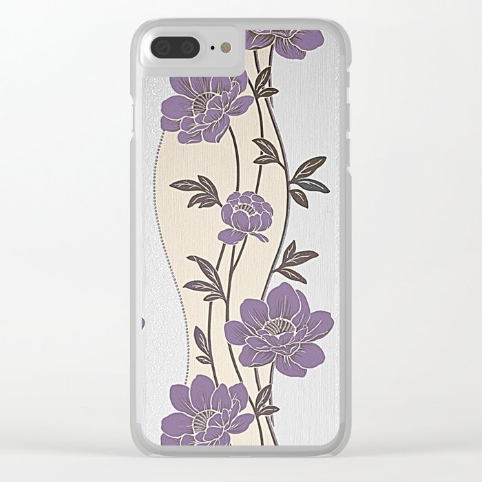 Purple Flower Garland Clear iPhone Case