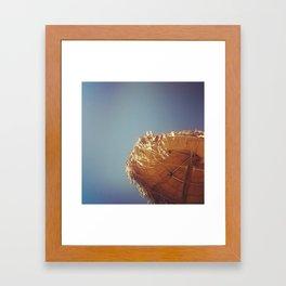 Umbrella in Santorini Framed Art Print