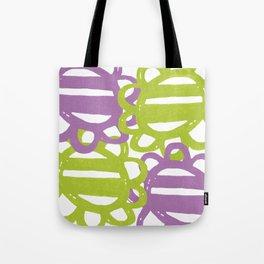 Fun Flowers Large purple green Tote Bag
