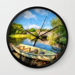 Padarn Lake Boats Wall Clock