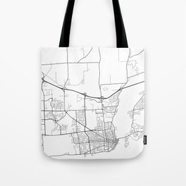 Kingston Map, Canada - Black and White Tote Bag