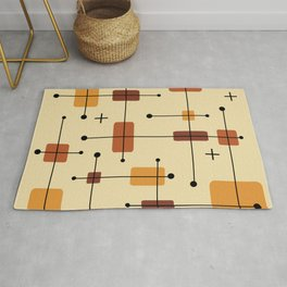 Rounded Rectangles Squares Orange Rug