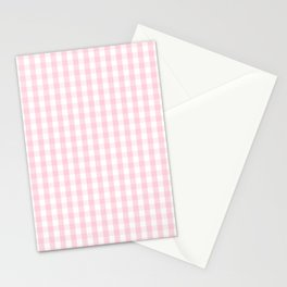 Light Soft Pastel Pink and White Gingham Check Plaid Stationery Cards