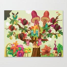 Mushroom Tree & Shell Bird Canvas Print