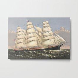 Vintage Ship Art - Nautcal Decor Metal Print