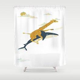 Giraffe riding shark Shower Curtain