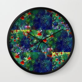 Patchwork Flowers Wall Clock