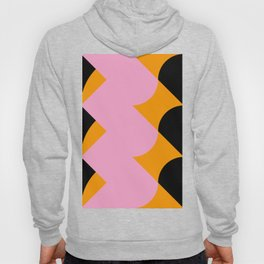 Vertical black and orange waves, in a pink sea, near three black orange mountains. Hoody