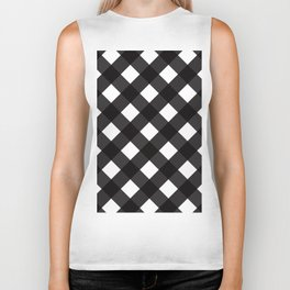 Contemporary Black & White Tilt Gingham Pattern - Mix & Match With Simplicty Of Life Biker Tank