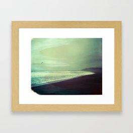 Pier with gull Framed Art Print