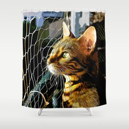bengal cat yearns for freedom vector art Shower Curtain