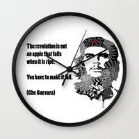che Wall Clocks featuring CHE GUEVARA by Rebecca Bear